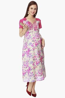 NINE MATERNITYWomens V Neck Printed Dress