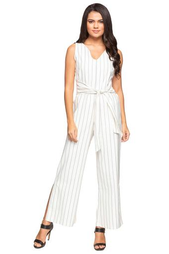 Womens V Neck Striped Jumpsuit