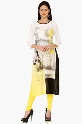 W Women Placement Print Rayon Kurta