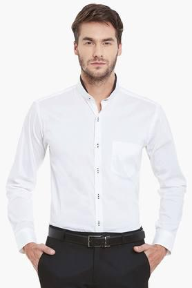 Mens White Solid Slim Fit Formal Shirt