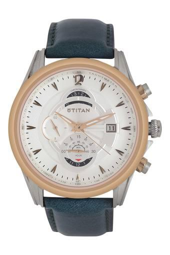 Mens White Dial Leather Chronograph Watch