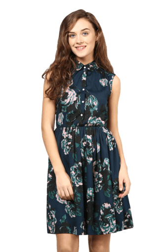 01cc6fd43a3dd Buy THE VANCA Women Floral Print Collar Neck Dress | Shoppers Stop