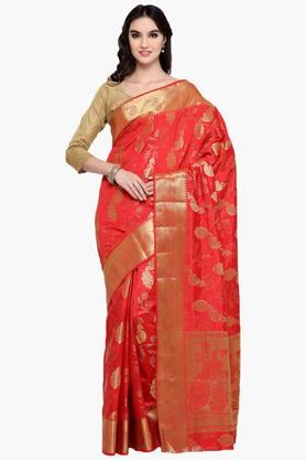 Womens Art Silk Golden Weave Saree With Blouse Piece - 202531351