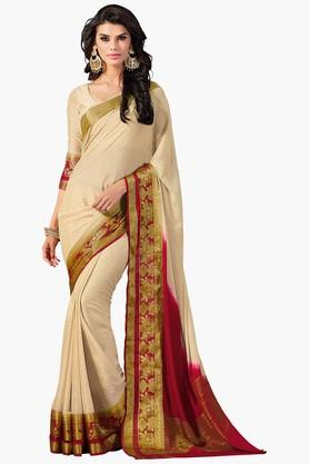 ASHIKAWomens Colour Block Golden Weave Saree - 201773725