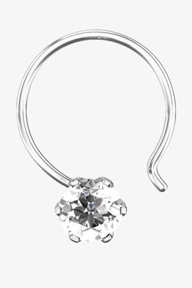 VELVETCASEWomens 18 Karat White Gold Nose Ring (Free Diamond Pendant) - 201065078