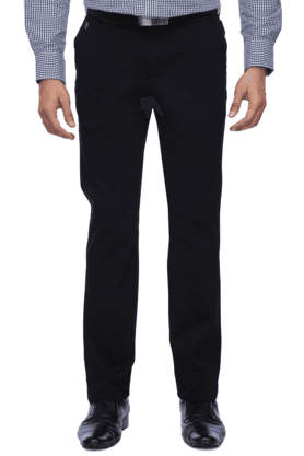INDIAN TERRAINMens Flat Front Slim Fit Solid Trouser