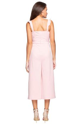 Womens Square Neck Solid Jumpsuit