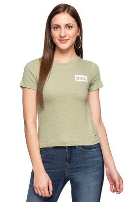 Womens Round Neck Slub T-Shirt