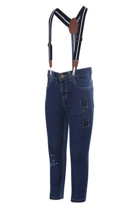 Boys 4 Pocket Rinse Wash Distressed Jeans with Suspenders