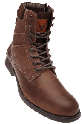 RED TAPE Mens Brown Leather High Ankle Boot