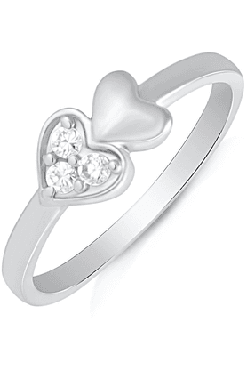 MAHI Mahi Rhodium Plated Forever Endearment Finger Ring With CZ For Women FR1100493R