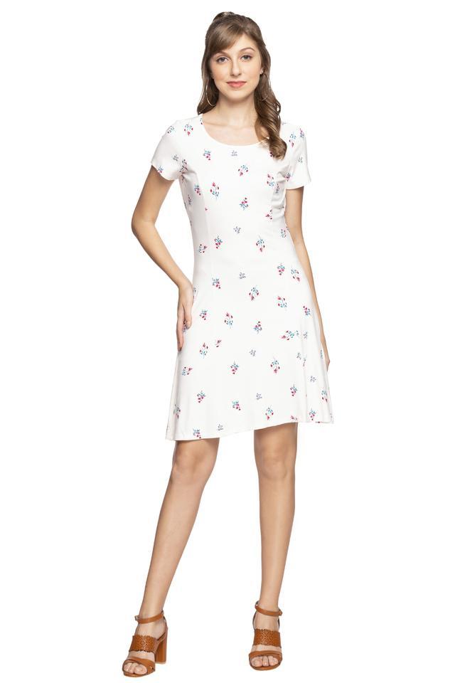 Womens Round Neck Printed Shift Dress