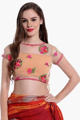 Womens Round Neck Embroidered Saree Blouse