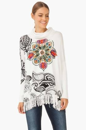 DESIGUAL Womens Turtle Neck Printed Embellished Sweater