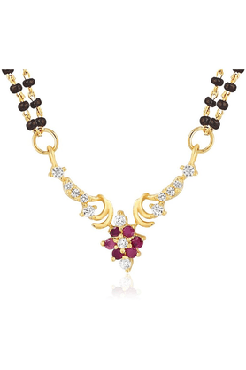 MAHIMahi Gold Plated Alliance Mangalsutra Pendant With CZ & Ruby For Women PS1193519G2 - 200803457