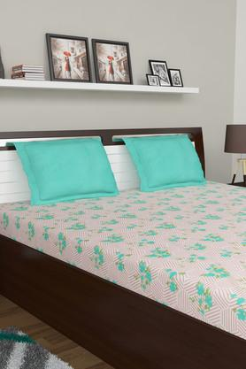 Floral Print Double King Bed Sheet with 2 Pillow Covers