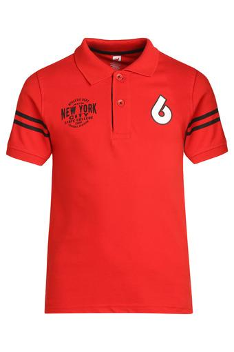 Boys Printed Applique Polo Tee