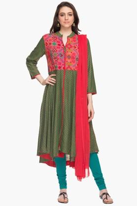 BIBA Womens Mandarin Neck Printed Churidar Suit