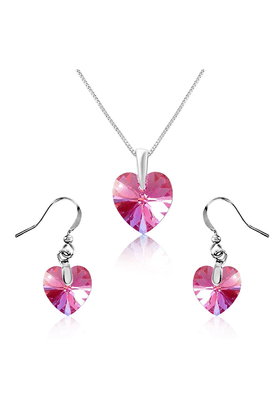 MAHI Mahi Rhodium Plated Tiny Pink Heart Swarovski Element Love For My Valentine Pendant Set NL1104208RPin