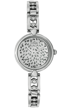 TITAN Womens Silver White Dial Watch 2444Sm05
