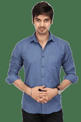 Acropolis Formal Shirts (Men's) - Mens Full Sleeves Slim Fit Casual Stripe Shirt