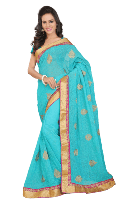 DEMARCAWomen Georgette Saree (Buy Any Demarca Product & Get A Pair Of Matching Earrings Free) - 200875623
