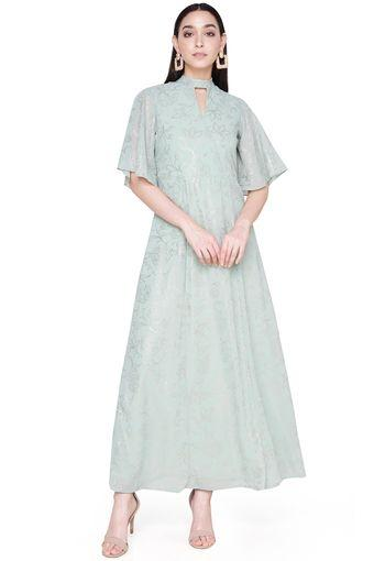 Womens A Line Fit Key Hole Neck Printed Gown