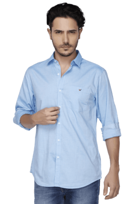 Wills Life Style Formal Shirts (Men's) - Mens Full Sleeves Slim Fit Casual Solid Shirt