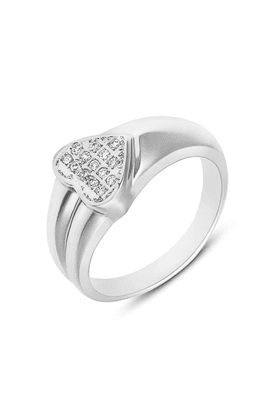 MAHI Mahi Rhodium Plated Shinning Heart Fingering With CZ For Women FR1100105R