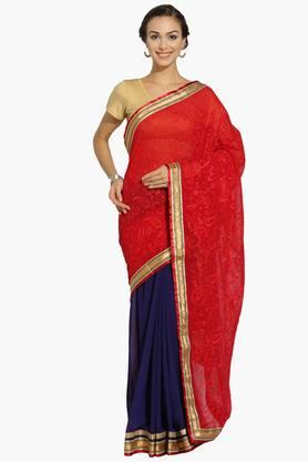 Womens Georgette Colour Block Saree With Blouse Piece