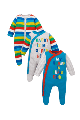 MOTHERCARE Mummy And Daddy Sleepsuits -Pack Of 3