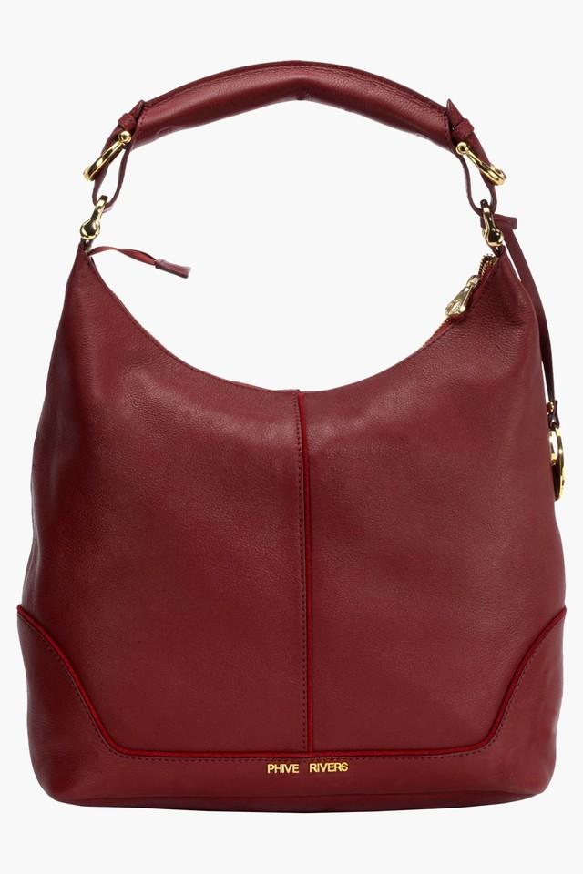 Womens Leather Zipper Closure Hobo Handbag