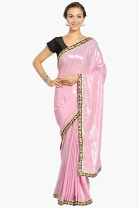 Womens Georgette Shimmer Saree With Blouse Piece