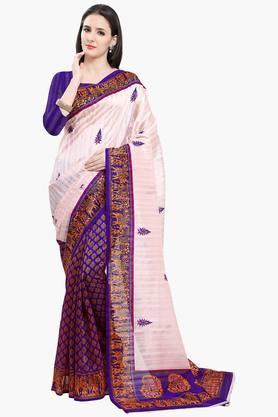 ISHINWomen Bhagalpuri Art Silk Half & Half Printed Saree