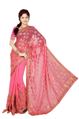 DEMARCAWomens Brasso Georgette Saree (Buy Any Demarca Product & Get A Pair Of Matching Earrings Free)