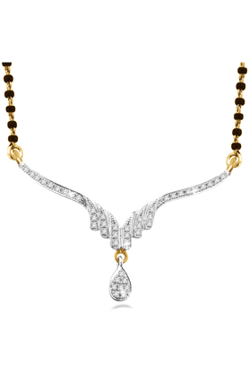 SPARKLES 18Kt Gold Mangalsutra With Diamond Pendant Along With Gold Plated Silver Chain And Black - 7501888