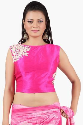 JASHN Women Dupion Silk Embroidered Red Croptop Blouse