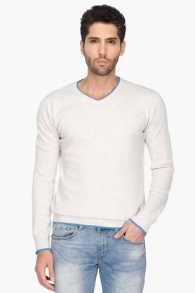 UNITED COLORS OF BENETTONMens V Neck Slub Sweater
