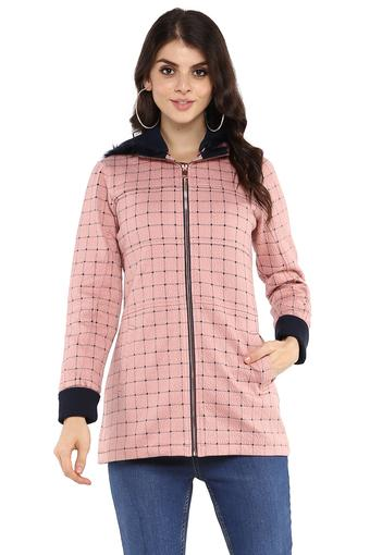Womens Hooded Neck Checked Jacket