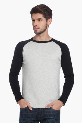 JACK AND JONES Mens Round Neck Colour Block Reglan Sweater