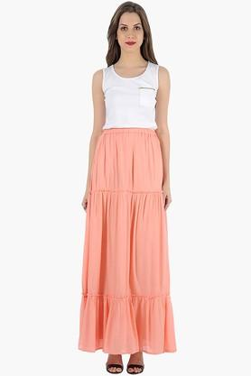 FABALLEY Womens Solid Long Flared Skirt - 201993915