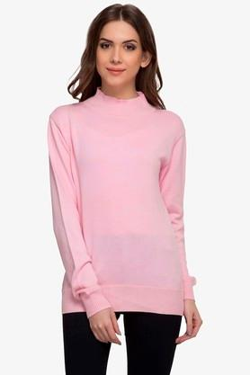 RARE Womens High Neck Solid Sweater