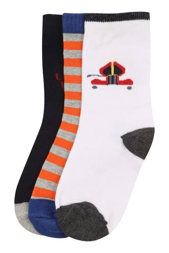 Boys Striped and Solid Socks - Pack of 3