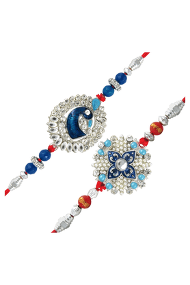 MAHI Combo Of Fascinating Rhodium Plated Two Rakhis