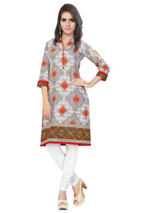 DEMARCA Womens Printed Kurta (Buy Any Demarca Product & Get A Pair Of Matching Earrings Free) - 200936941
