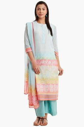 BIBA Womens Poly Cotton Straight Suit Set - 202179867_9307