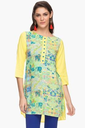 IMARA Womens Round Neck Printed Tunic
