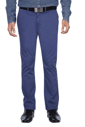 CELIOMens Flat Front Slim Fit Solid Chinos