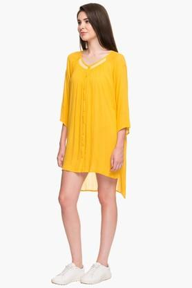 NOI Womens Round Neck Solid Tunic