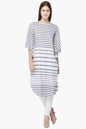 AND Women Stripes Boat Neck Kurta  ...